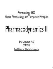 Topic 6 - Pharmacodynamics II
