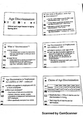 GEY4647 Ethical and legal Issues in Aging, Age Discrimination Notes