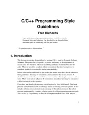 Fred Richards -- C & C++ Programming Style Guidlines