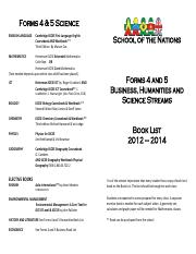 Book List - Form 4 and 5
