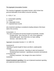 Macroeconomics - The Aggragate Consumption Function Notes