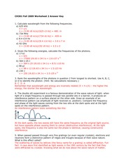 Particles and Energy Worksheet Solutions
