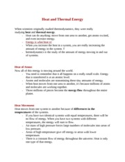 Heat and Thermal Energy Notes