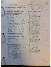 Pre-Calculus 12 Radicals Unit Test