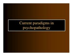 Current Paradigms in Psychopathology (2016)