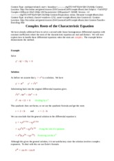 Complex Roots of the Characteristic Equation