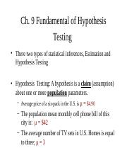 Chapter 9 Fundamental of Hypothesis Testing