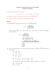 Practice Final Exam Solution on Calculus III Fall 2009
