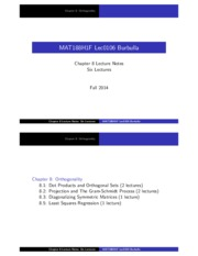 MAT188 Chapter8 Orthogonality