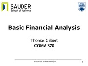 Classes 2 and 3 - Financial analysis