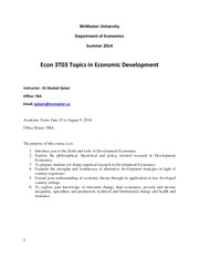 Econ 3T03 Development Economics
