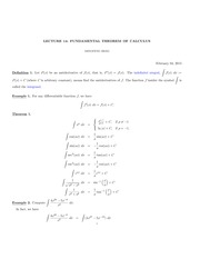 MATH 105 Fundamental Theorem of Calculus Notes