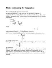 Stats - Estimating the Proportion