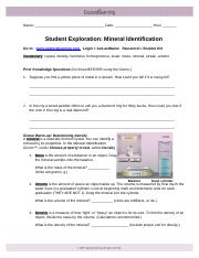 lab - mineral identification - Mineral Identification Lab ...