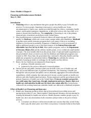 Notes Module 4 Essentials of the U.S. Health Care  System Chapter 6