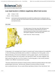 Low lead levels in children negatively affect test scores