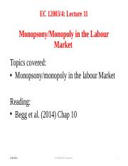 Lecture 11 Monopsony&Monopoly in the Labour Market