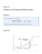 Average Rate of Change and Relative Change