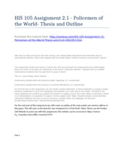 HIS 105 Assignment 2.1 - Policemen of the World- Thesis and Outline - Strayer University NEW