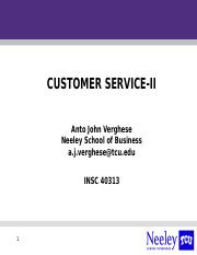 Customer Service Strategy II