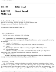 Computer Science 188 - Fall 1992 - Russell - Midterm 2
