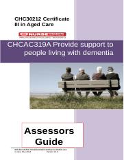 CHCAC319A Provide support to people living with dementia AG V0.2