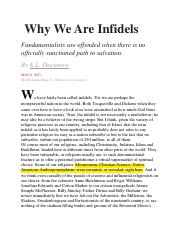 9.Why We are Infidels
