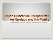 Major Theoretical Perspectives on Marriage and the Family