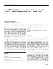 Parental weight (mis)perceptions Factors influencing parents' ability to correctly categorise their