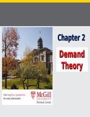 Chapter 2 (Demand Theory), Fall 2015