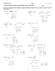 Exponential Functions and Logs Problems Solutions