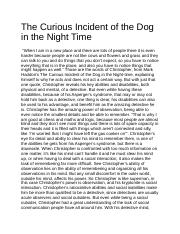 the curious incident of the dog in the night time documents  the curious incident of the dog in the night time