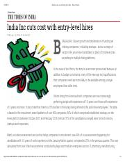 India Inc cuts cost with entry-level hires - Times of India