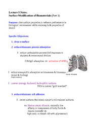 Lecture 9 Notes Surface Modification of Biomaterials (Part 1)