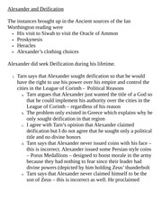 Classics 2440A Exam Review Alexander and Deification