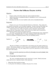 Lab 6 - Factors that influence Enzymes