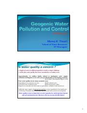 Geogenic Water Pollution and Control I
