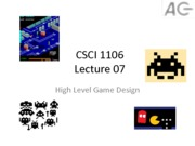 CSCI 1106 High Level Game Design