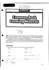 GLG112 Lab 3 Common Rock Forming Minerals