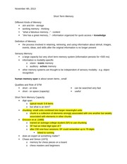 short term memory-nov4 lecture notes