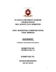 MARKETING COMMUNICATIONS TERMPAPER