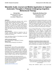 Wearable Audio Journal and Mobile Application to Capture Automatic Thoughts in Patients Undergoing C