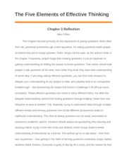 The Five Elements of Effective Thinking Ch. 3 Reflection.docx
