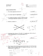 Geometry 218 - Quiz 2.5-2.8 with Answers