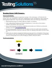 Breaking Down CARS Passages Handout