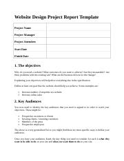 web design project report template .doc