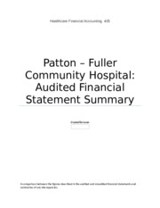 patton fuller financial statement review View notes - patton-fuller financial statements review from hcs405 hcs405  at university of phoenix 1 patton-fuller community hospital.