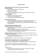 Order And Process Costing Class Notes