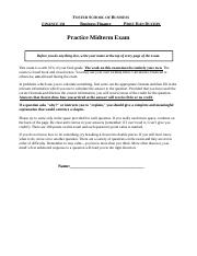 Practice Midterm exam FIN 350 - Answers