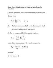 Lecture  EE 550 - 23- 132 Some Direct Realizations of Multivariable Transfer Functions